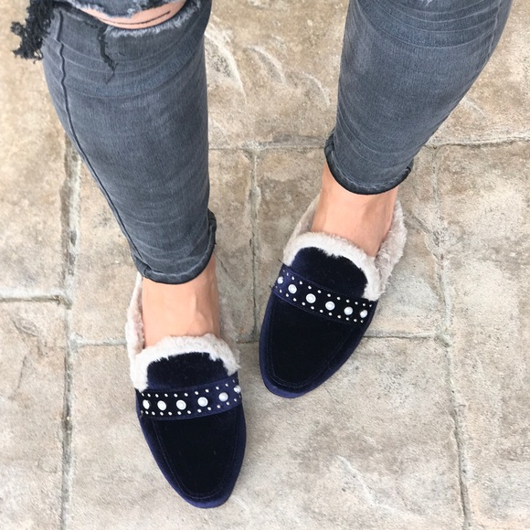 340a3a58402 Navy Pearl Embellishments Fur Mules